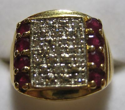 18K Solid Yellow Gold Ring with Diamonds and Rubys - 9.3 Gram Total