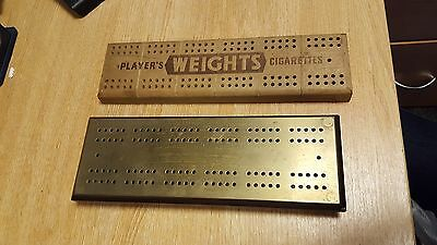2 X Vintage Wood & Brass CRIBBAGE Score Board for pub games and Dominoes