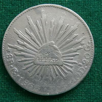 1863 MEXICO SILVER  8 Reales  Coin Go YF Caps & rays