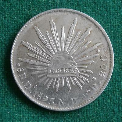 1895 MEXICO SILVER  8 Reales  Coin Durango Do ND Caps & rays XF+