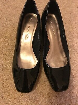 Black Patent Marks And Spencer Size 6 Court Shoes