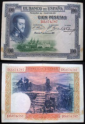 Spain 100 Pesetas, 15.8.1928 Circulated Banknote (P76)