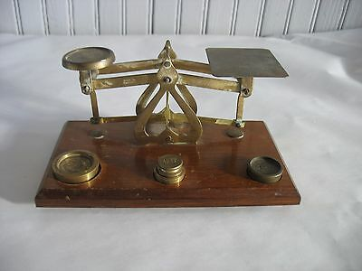 Antique English small brass Postal scale w 4 brass weights