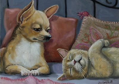 Cat Kitten Dog Chihuahua   ACEO print from original oil by Joy Campbell