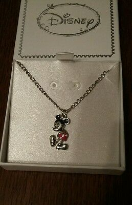 DISNEY MICKEY MOUSE RED SHORTS SILVER NECKLACE BRAND NEW GIFT BOXED. Gift!