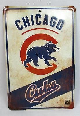 Chicago Cubs MLB Replay Parking Sign Retro Vintage Look Distressed Baseball
