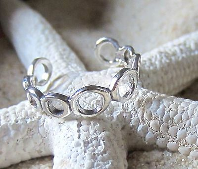 Toe Ring Sterling Silver 925 Adjustable Band Solid Band Beach Surf Midi Pinky