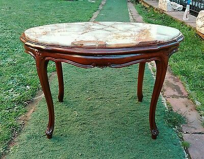 Antique Mahogany Coffee table French Louis XV Style Provincial Onyx top plane