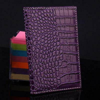 Delicate Business Card Holder Passport Cover PU Leather Alligator Embossing Purp