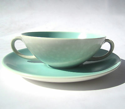 Vintage POOLE Twintone Soup Bowl & Plate Ice Green & Seagull  Two Handled Retro