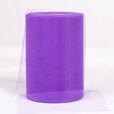 """Purple 6""""x100yd Soft Tulle Roll Spool For Craft Wedding Party Decorations"""