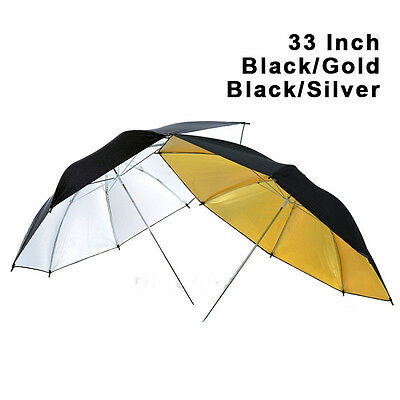 "2x 33"" Reflective Black Gold Silver Umbrellas for Photography Studio Flash Light"