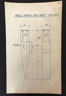Harland & Wolff, 1930's Shipyard Drawing - ANGLE SMITHS FIRE CHISEL  (P44)