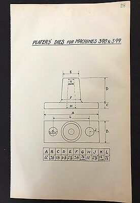 Harland & Wolff 1930's Shipyard Drawing PLATERS DIES FOR MACHINES 398/399 (P28)