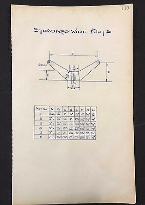 Harland & Wolff, Belfast 1930's Shipyard Drawing - STANDARD WING NUTS (P130)