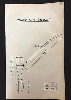 """Harland & Wolff, Belfast 1930's Shipyard Drawing - FURNACE PLATE """"FULLERS"""" (P47)"""