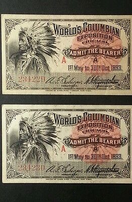 TWO 1893 World's Columbian Fair Chicago Day Tickets Indian Chief 234229 & 234230