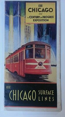 1933 Chicago Century of Progress Surface Lines Sightseeing Route Map Bus Trolly
