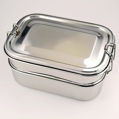 Eco Friendly Stainless Steel Lunch Box - Three Layer Bento Set with Tray - Metal