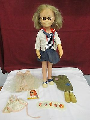 1960's Mattel Charming Chatty Doll Blonde w Clothes Shoes Records & Eye Glasses
