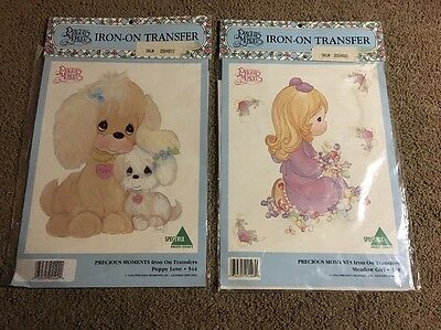(CL) 1994 2 Precious Moments Spectrix Iron-On Transfer Puppy & Girl  NIP