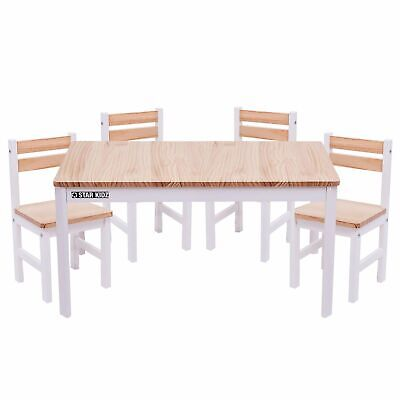 Nu Elwood Kids Solid Wooden Rectangle Table & 4 Chairs Set - Inverted White
