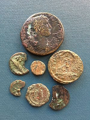 Group of (7) Ancient Judaean Biblical Coins. Hadrian Sestertius. Study Group.