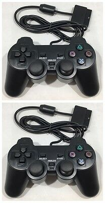 Dual Shock Controllers Vibrate X 2 For The Playstation 2 - New - Ps1 Ps2 - Black