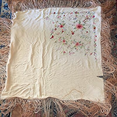 Gorgeous Antique Embroidered Piano Shawl