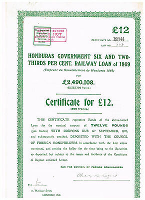 Honduras Government...Railway Loan of 1869, LB 12, issued/ uncancelled