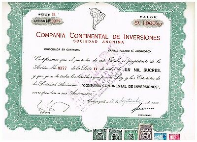 Cia Continental de Inversiones, Guayaquil 1955, tax stamps, nice