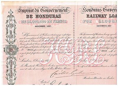 Honduras Government Railway Loan, 1867, issued/ uncancelled