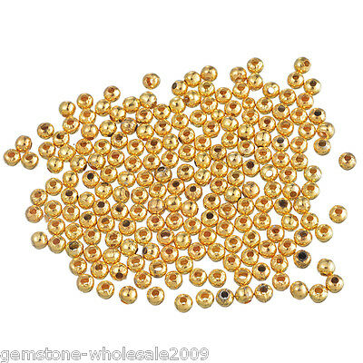 500PCS Wholesale Lots Gold Plated Smooth Ball Spacer Beads 4mm in Dia.