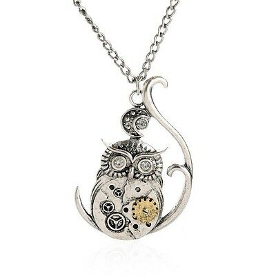 Vintage Owl Pattern Gear Necklace Pendant Victorian Steampunk Necklace