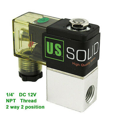 "U.S.Solid® 1/4"" NPT 2 Way 2 Position Pneumatic Electric Solenoid Valve DC 12V"