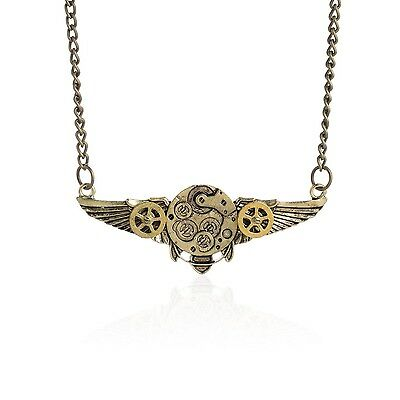 Vintage Angel Wing Gear Necklace Pendant Victorian Steampunk Necklace