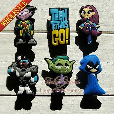 100PCS Teen Titans Go PVC Shoe Charms Accessories Fit JIBZ Bracelets,Kids Gifts
