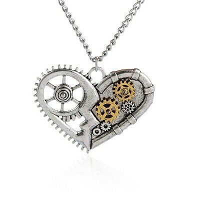 Vintage Heart Shape Gear Necklace Pendant Victorian Steampunk Necklace