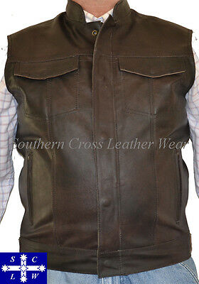 Sons of Anarchy Style Motorcycle Vintage Leather Vest M-5XL