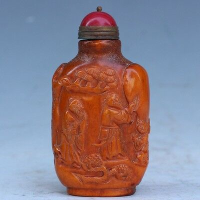 Chinese exquisite hand-carved antlers character pattern snuff bottle