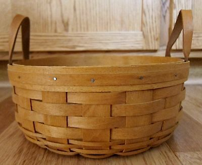 """Longaberger Round Basket Leather Handles 1994 About 9.75"""" x 4.25"""""""