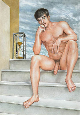 Hand Painted Nude Male Portrait Art Oil Painting On Canvas, male of capital24x36