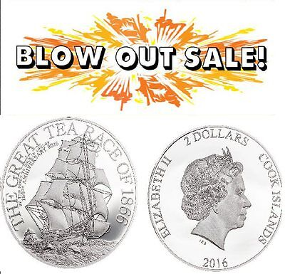 2016 Cook Islands GREAT TEA RACE 8g - Ultra High Relief .999 Silver Proof Coin