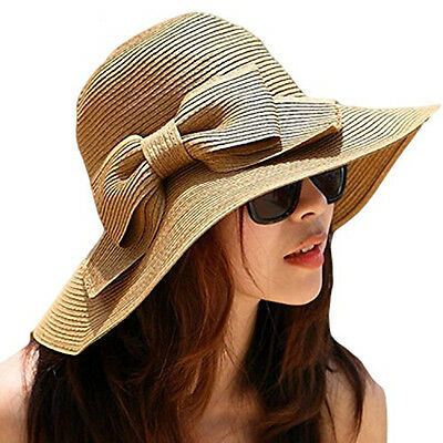 Cool Fashion Cap Floppy Wide Brimmed Summer Beach Bow Hat Women`s Straw Sun Hat