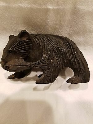 VINTAGE hand carved hardwood GRIZZLY BROWN BLACK BEAR wood figurine