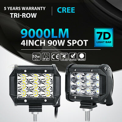"2X Tri-Row 90W 4""INCH Led Work Light Bar SPOT Offroad 4WD ATV Jeep Truck VS 18W"
