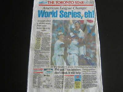 1992 Front Page Toronto Blue Jays Cloth Poster***american League Champions***