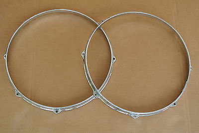 """60's GRETSCH 14"""" 8-LUG DIE-CAST TOP + BOTTOM SNARE HOOPS for YOUR DRUM SET C574"""