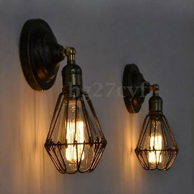 Iron Cage Style Industrial Retro Vintage Wall Sconce Light Fixture Ceiling Lamp