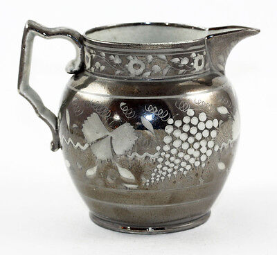 English pearlware silver resist lusterware pitcher, Staffordshire, ca 1820s 8173